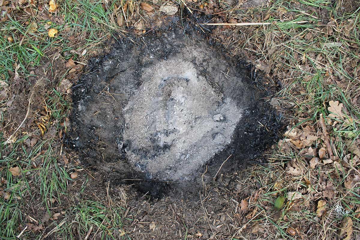 Elda upp stubbar Referensstubben nr 1 är en liten stubbe med djupt liggande rötter där enbart en grop finns kvar efter att stubben har eldats upp med Stubbskorstenen