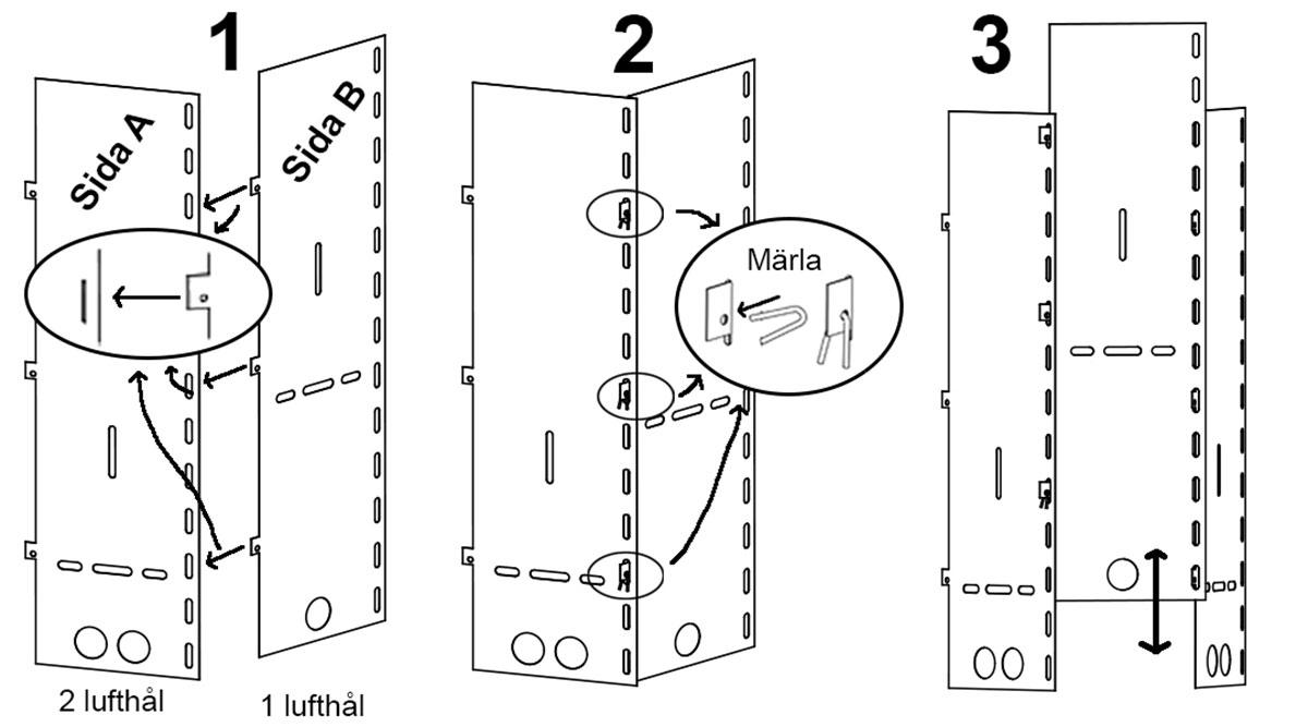 Monteringen av sidorna görs enkelt genom att haka i sidorna i varandra och sidorna låses med märlor