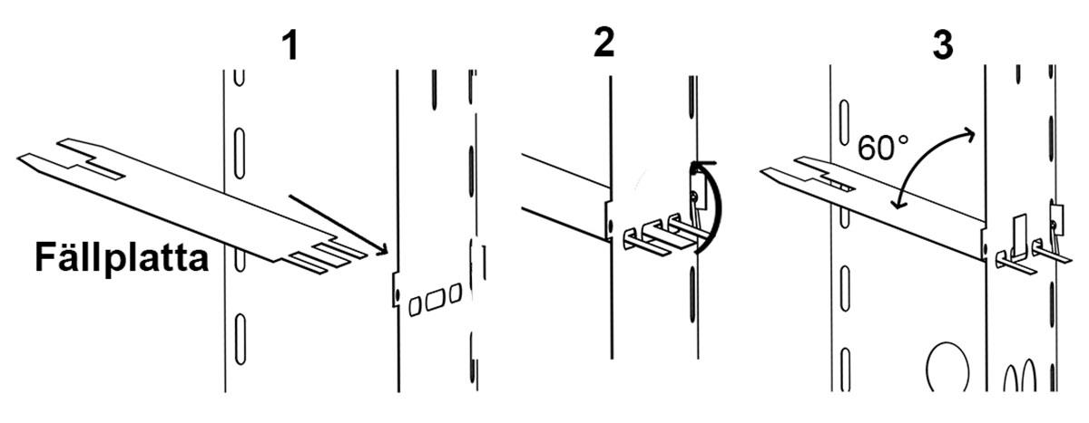 Beskrivning hur montering av en fällplatta görs i Stubbskorstenen