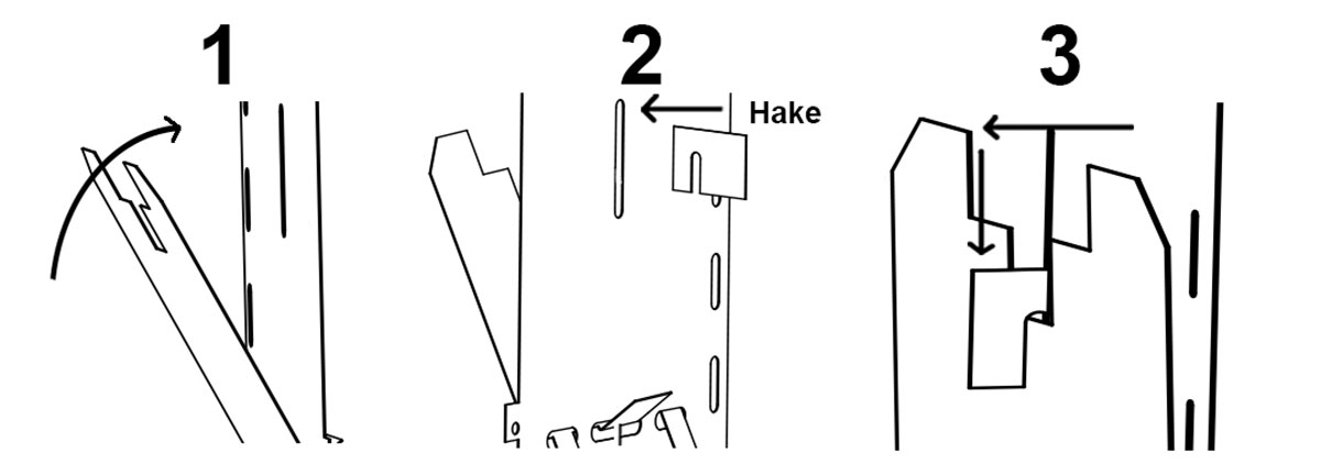 Lås fällplattan i upprätt läge med hjälp av en hake